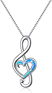 WINNICACA October Birthstone Opal Music Note Necklaces Sterling Silver Dance Lover Pendant Necklaces for Women Girls Gifts Jewelry