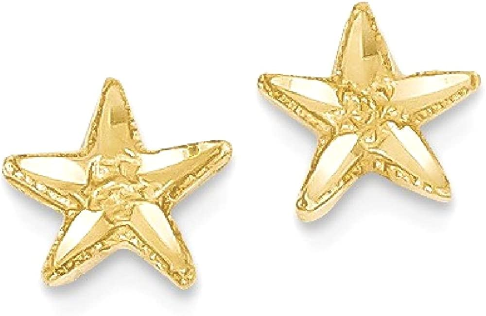 14k Yellow Gold Starfish Post Stud Earrings Ball Button Animal Sea Life Fine Jewelry For Women Gifts For Her