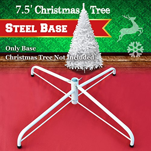 Steel Base Metal Stand for 5/6/7/7.5ft Christmas Tree Green Christmas Decor (7.5', White)