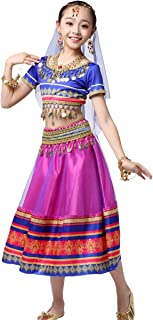 Bollywood Belly Dance Costume - Sari Noble Dance Outfit Halloween Costumes with Head Veil for Girls
