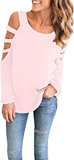 Imilyela Women's Cut Out Long Sleeve Cold Shoulder Loose Fit T Shirt Tops Sweatshirt