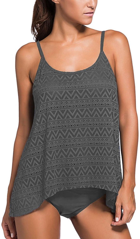 D.R.Beauty Women's Stripe Tankini Top Bikini Swimwear With Brief Plus Size S  3XL