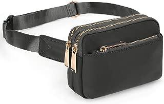 UTO Fanny Pack for Men&Women Waterproof Nylon Fashion Slim Lightweight Waist Pack Bag with 3 Zipper Pockets