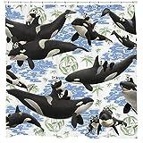 None brand Ballena Panda Juego De Cortina De Ducha Divertido PatróN Floral Tema De Playa Blanco Impermeable-W90xH180cm