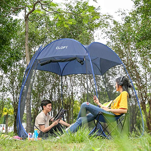 CLOFY Instant Screen Shelter Room with PE Tent Floor Mat  360° Views Pop-up Screened Canopy Tent Instant Portable 10'x10'x7' Screenhouse for Camping and Travel Instant 30 Seconds Setup No Tool Needed