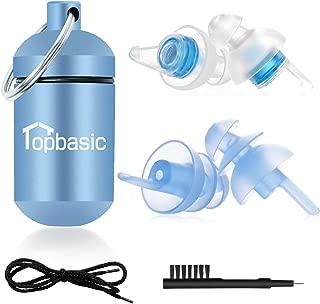 耳栓 安眠 防音 Topbasic 異なる2種類 耳栓 睡眠 飛行機 仕事 勉強 水洗い可能 携帯ケース付き コード付き ブラシ付き 日本語説明書付 2ペア T-4 ブルー
