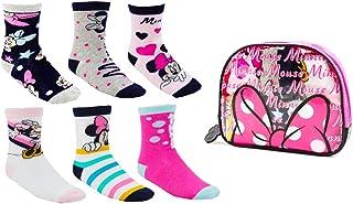 Textil y complementos minnie, Disney Minnie Mouse Calcetines para Niñas, Pack Múltiple de 6 Calcetines, 100% Algodón Suave, Juego de Calcetines, Incluye Bolsa Pequeña, 2 a 6 Años (5 a 6 Años)