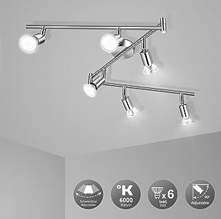 Plafonnier 6 Spots Pivotants, Wowatt Lumière Spot de Plafond 6000K Blanc Froid 6 × 6w Ampoules GU10 Incluses 600Lumens Lum...