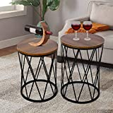 amzdeal Nesting Side Table, Set of 2 Stacking Coffee Table for Living Room, End Tables with Metal Frame Modern Industrial Decor - Ø15.75'x22.44'(H), Ø14.17'x18.5'(H)