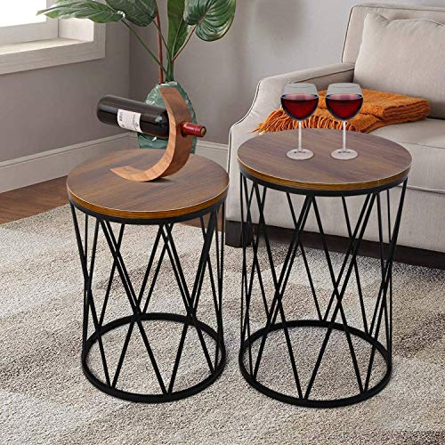 """amzdeal Nesting Side Table, Set of 2 Stacking Coffee Table for Living Room, End Tables with Metal Frame Modern Industrial Decor - Ø15.75""""x22.44""""(H), Ø14.17""""x18.5""""(H)"""