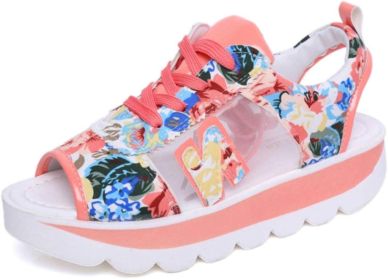 MEIZOKEN Womens Peep Toe Platform Sandals Fashion Slingback Cutout Floral shoes Casual Lace-up Sneakers