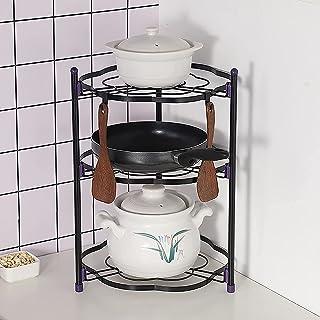 Racque de rangement Cuisine Cuisine Porte-végétal 2/3/4/5 Tier Pot Pot Pot Rack Iron Coin Cuisine Coin étagère Porte-poêle...