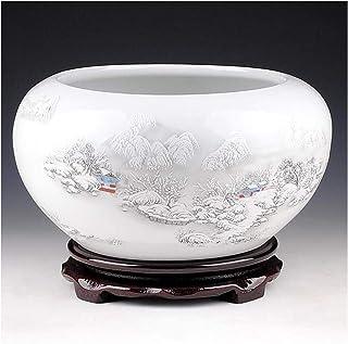 8HAOWENJU Adornos de cerámica, pecera de Nieve, Cilindro de Lirio de Agua, Tanque