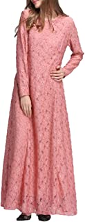 Women Muslim Lace Long Maxi Dress Kaftan Abaya Jilbab Long Sleeve Dress