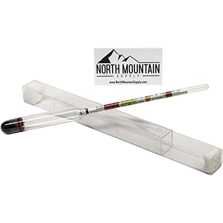 North Mountain Supply - NMSTS-H Glass Triple Scale Hydrometer - Specific Gravity 0.760-1.150 - Potential ABV 0-16% - Sugar Per Liter 0-341 Clear
