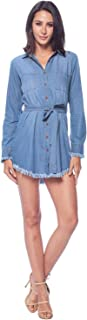 ICONICC Women's Chambray Long Sleeve Shirt Denim Dress