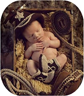 Fashion Unisex Newborn Boy Girl Baby Outfits Photography Props Cowboy Hat Boots