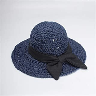 Foldable hat Ladies Summer Bow Beach hat Handmade Big Straw hat Visor hat` TuanTuan (Color : Navy)