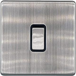 Klite Single Light Switch 1 Gang Flat Screwless Brushed Chrome Black Insert – Metal Rocker Switches – 10A 1 Gang 2 Way Switch
