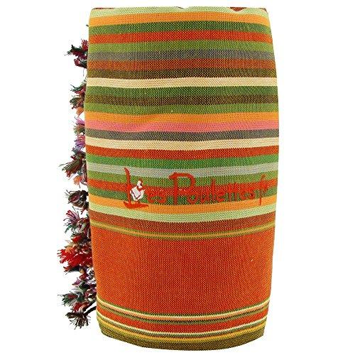 LES POULETTES Kikoy Strandtuch aus Baumwolle Streifen - Farbe rot orange