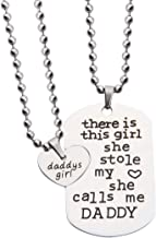 KUIYAI Father Daughter Necklace to My Daughter Jewelry Dog Tag Gift for Father Matching Daddys Heart