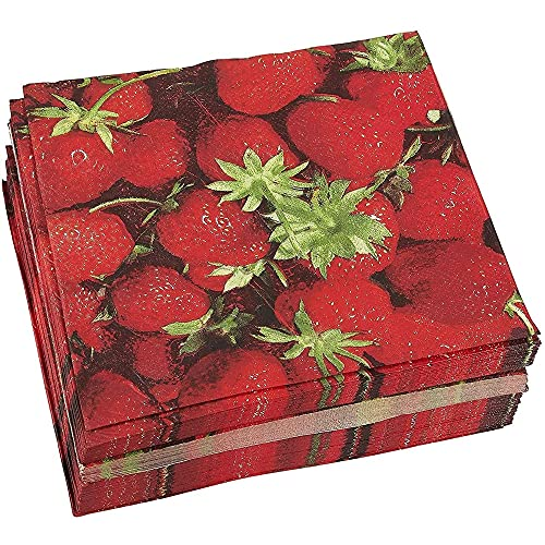 100-Pack Decorative Napkins - Disposable Paper Party Napkins with Strawberry Designs - Perfect for Birthday Parties, Celebrations and Special Occasions, 13 x 13 Inches