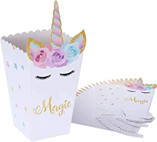 24pcs Unicorn Paper Box Design Treat Box Popcorn Snack Boxes Rainbow Unicorn Design Treat Box Popcorn Containers for Baby ...
