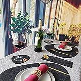 Tischset aus Filz 6 Sets schwarz 43x33cm schmutzabweisend hitzebeständig abwaschbar Filz Platzset,Mit 6 Filzuntersetzer und 6 bestecktaschen,für Hause Küche Restaurant Hotel(18er Set) - 7