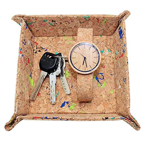 boshiho Corcho Jewelry CatchAll Clave Caja Monedero EDC Valet Bandeja Cambio Caddy...