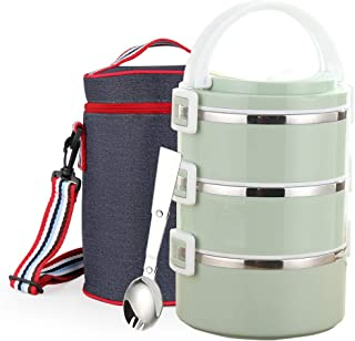 WORTHBUY Stainless Steel Thermal Lunch Box, 100% Leakproof Contain with Insulated Lunch Bag, Large Capacity Food Storage Container for Kids Adults Women Men(3-Tier, Green)