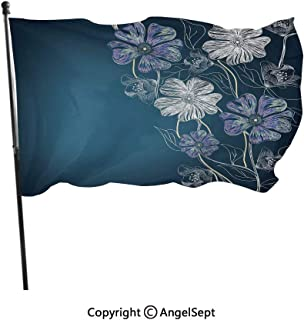 Durable Longest Lasting Polyester Flags,Hand Drawn Cherry Blossoms Fantasy Bridal Garden Anniversary Theme Petrol Blue Lavander White,3x5 ft,Outdoor Flags UV Protected