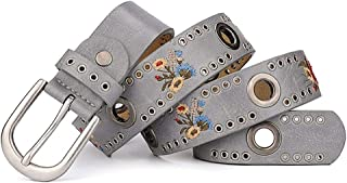 SGJFZD Fashion New Rivet Ladies Belt Flower Fashionable Wide Wild Jeans Belt Belt (Color : Grey, Size : 110cm)