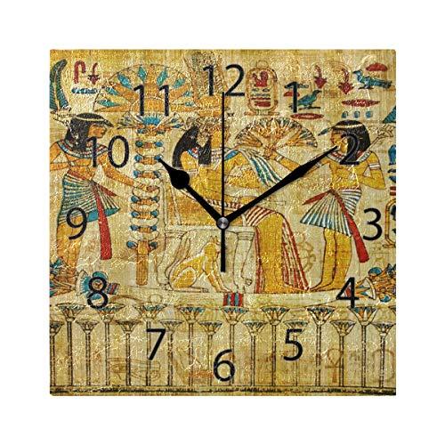 XiangHeFu Reloj de Pared, Cuadrado, 8x8 Pulgadas, silencioso, Antiguo papiro Egipcio,...