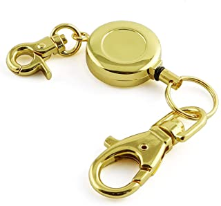 JCBIZ 1PCS Retractable Key Chain with Hook Zinc Alloy High Resilient Anti-Lose Stretch Key Ring Holder Tool Telescopic Rope Gold