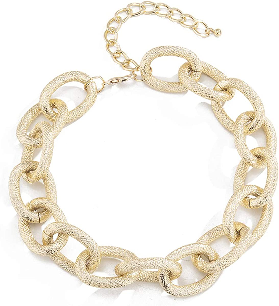 DOHAOOE Statement Chunky Chain Link Choker Adjustable Metal Necklace