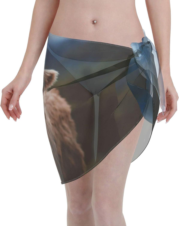 Baby Highland Cow Women Beach Short Sarongs Cover Ups Beach Swimsuit Wrap Skirt Black