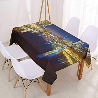 Wendell Joshua Tablecloth Custom City,Looking Down The Yarra River on a Beautiful Night in Melbourne Water Reflection,Indigo Yellow,Dinner Kitchen Home Decor 52