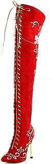 punto de venta botas HETAO De Mujer botas Altas hasta hasta hasta El Muslo sobre La Rodilla Bordado Tacones Altos Fiesta Vestido De Noche Boda Rojo Regalo  envío gratis