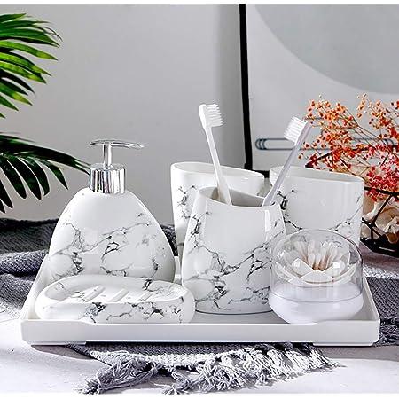 Set di Accessori per Il Bagno,Set di Accessori da Bagno Completo 5 Piece Set di accessori per il bagno in ceramica,Completo di Porta Spazzolino,Porta Sapone,Dispenser Sapone e Bicchiere per Spazzolino