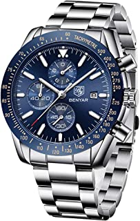 BENYAR - Stylish Wrist Watch for Men, Stainless Steel Strap Watches, Perfect Quartz Movement, Waterproof and Scratch Resistant, Analog Chronograph Business Watches