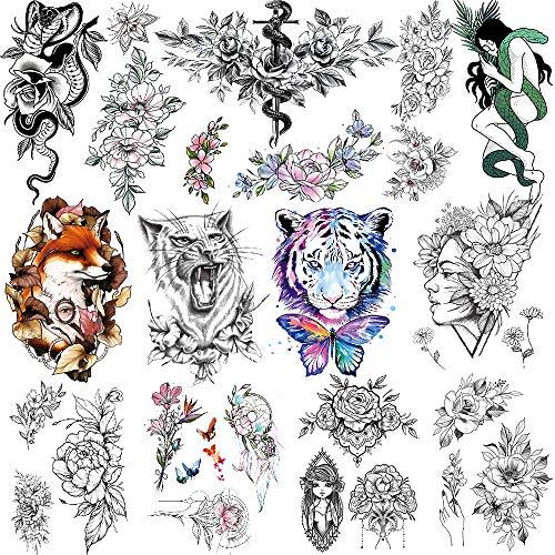 Feelairy 10 Hojas Tatuajes Temporales 3D Flor Pegatinas para Adultos Mujeres Niñas, Tatuaje Impermeable Sexy Falso Tatuajes Adhesivos Brazo Cuello, Tribal Mandala, Lobo, Tigre, Bruja