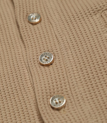 GARSEBO Mens Casual Slim Fit Henley Shirts With Bound Pocket of Waffle Cotton,Khaki,X-Large