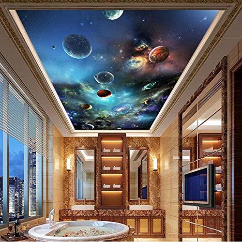 MAZF Deckenbild, modernes 3D-Universum Planet Fototapete Wohnzimmer Thema Hotel Deckendekor Wandverkleidung 3 D 420 cm (B) x 260 cm (H)