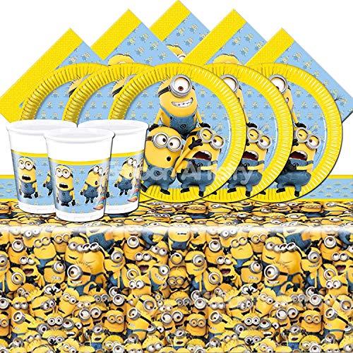 Lote de Cubiertos Infantiles Disney Desechables'Minions' (8 Vasos, 8 Platos, 20 Servilletas y 1 Mantel) .Vajillas y Complementos. Juguetes para Fiestas de Cumpleaños, Bodas, Bautizos y Comuniones.