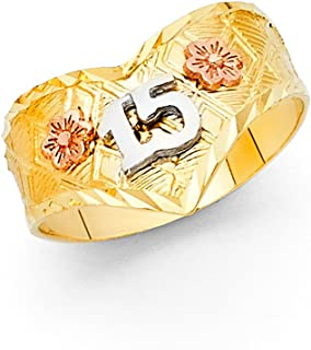 FB Jewels 14K Yellow White and Rose Three Color Gold Fifteen 15 Year Birthday Quinceañera Fashion Anniversary Ring