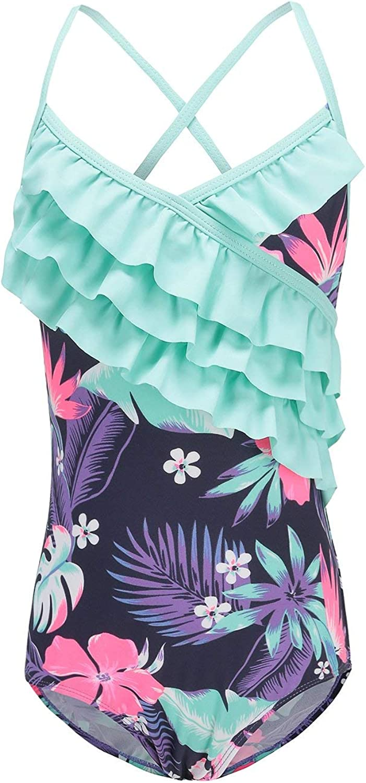 Moon Tree Toddler Girls One Piece Swimsuits Hawaiian Ruffle Swimwear Beach Bathing Suit 2T Purple