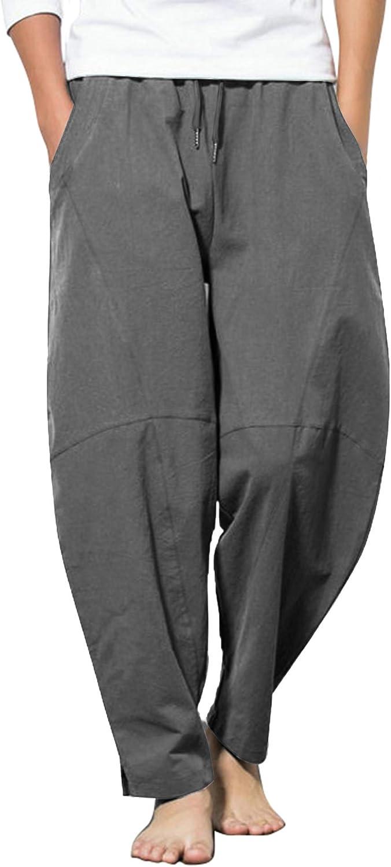 COOFANDY Men Cotton Linen Yoga Pant Casual Drawstring Loose Fit Baggy Harem Pant