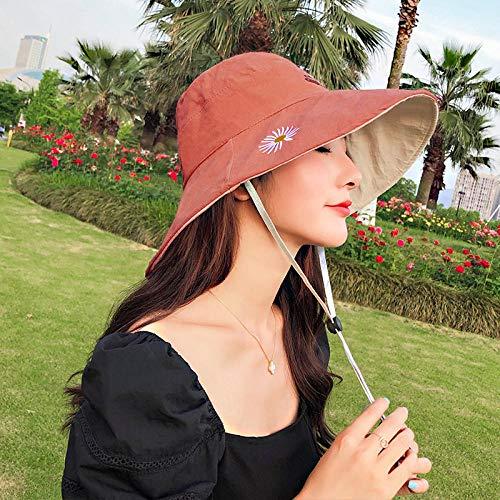 Chapeau Bob Femme Daisy Double-Face Fisherman Hat Cool Girl S All-Match Casual Bucket Hat Sunbonnet Yellow Hat Randonnée Hat Bucket Hats-Brick_Chrysanthemum_One_Size