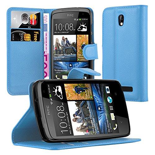 Cadorabo Hülle für HTC Desire 500 in Pastel BLAU - Handyhülle mit Magnetverschluss, Standfunktion & Kartenfach - Hülle Cover Schutzhülle Etui Tasche Book Klapp Style