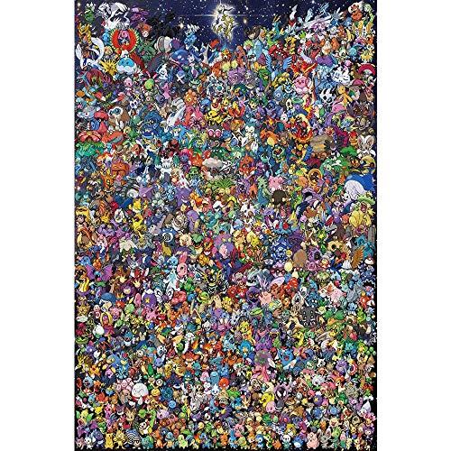 Alta rompecabezas difícil, Pokemon Puzzles, Rompecabezas de Madera 1000 Piezas de un rompecabezas de la familia Pokémon, denso puzzles, juguetes de bricolaje ensambladas, descompresión Educación Intel